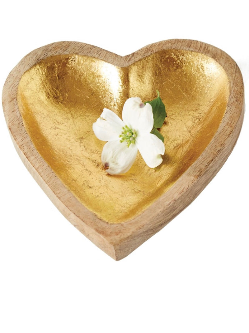 Wood Heart Tray With Gold Foil