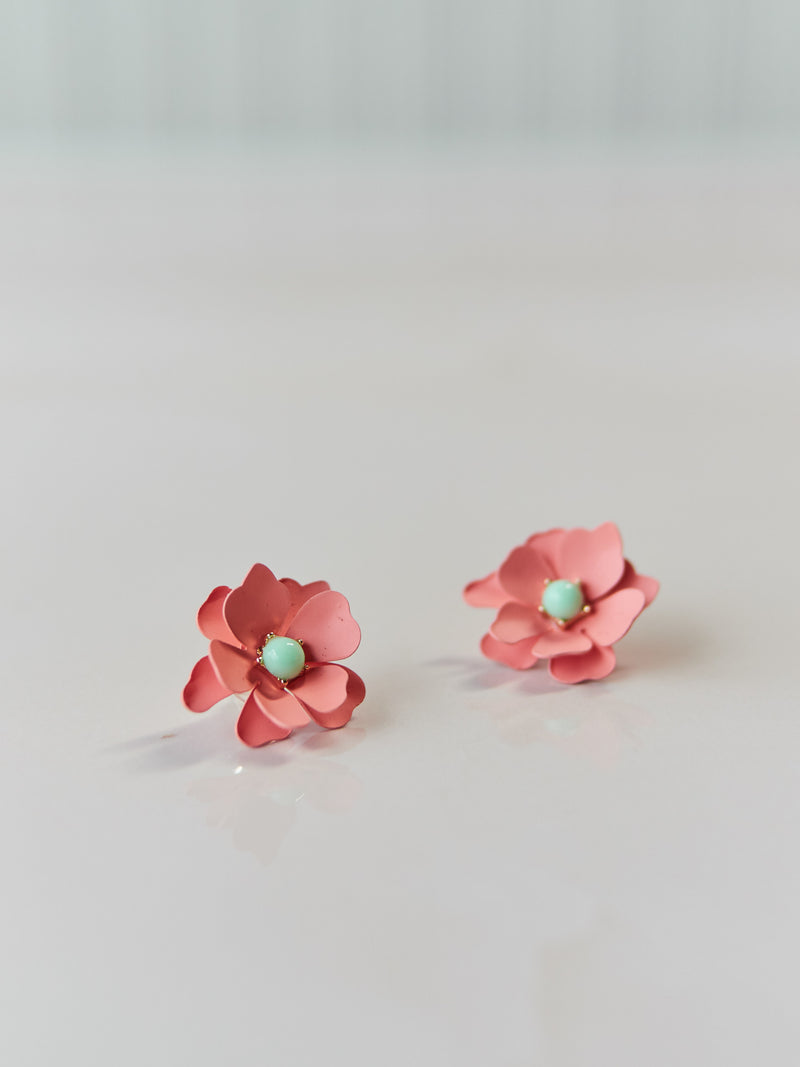 Tangerine Dahia Flower Earrings