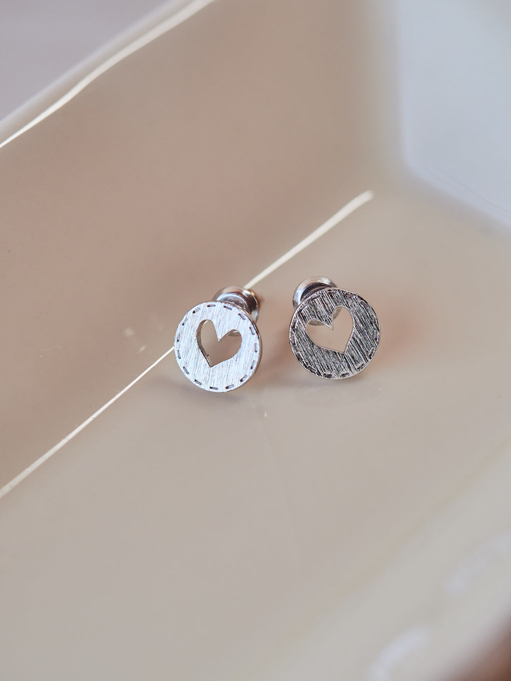 Heart Stitch Stud Earrings