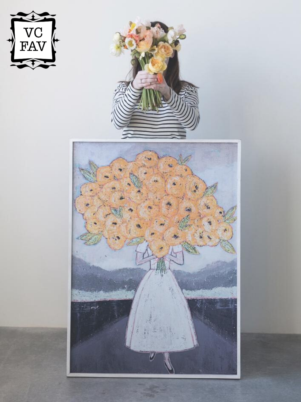 Girl Holding Flowers Wood Framed Wall Décor
