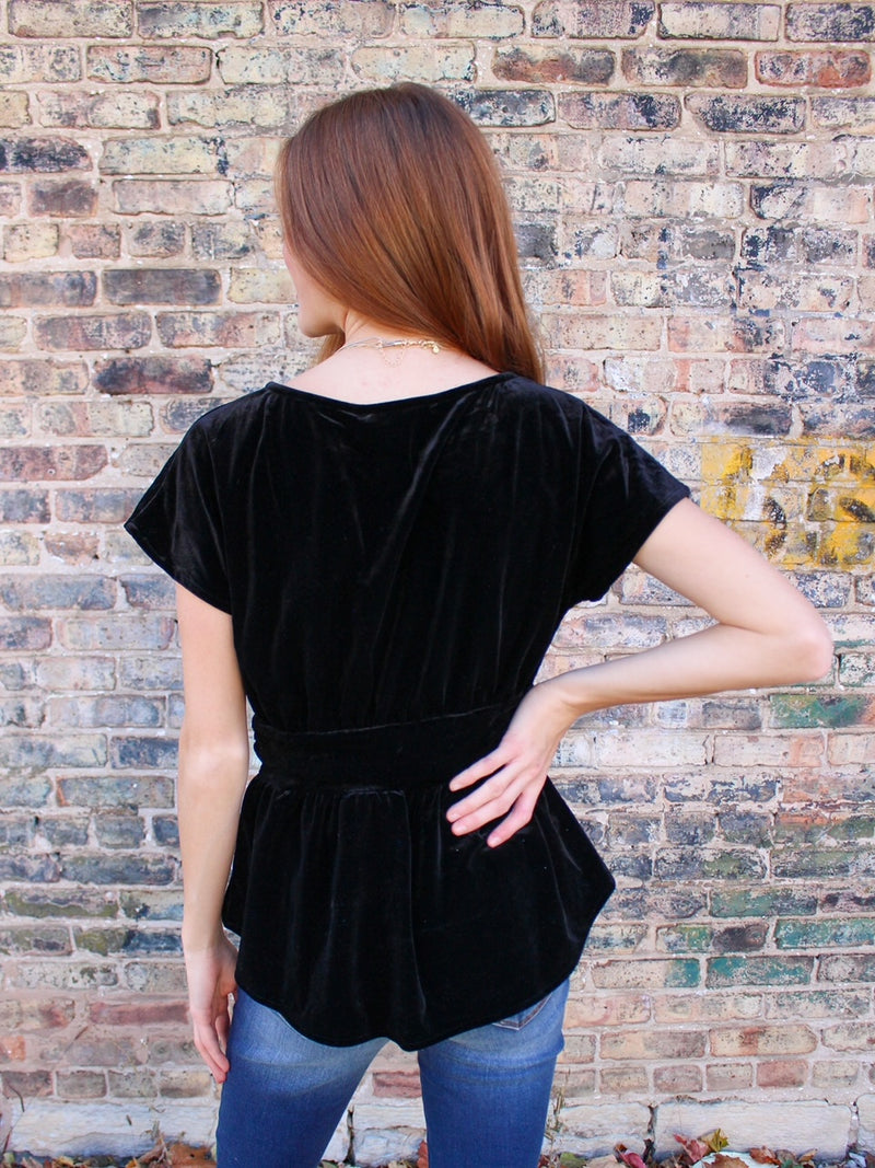 Velvet Dreams Peplum Top - Black