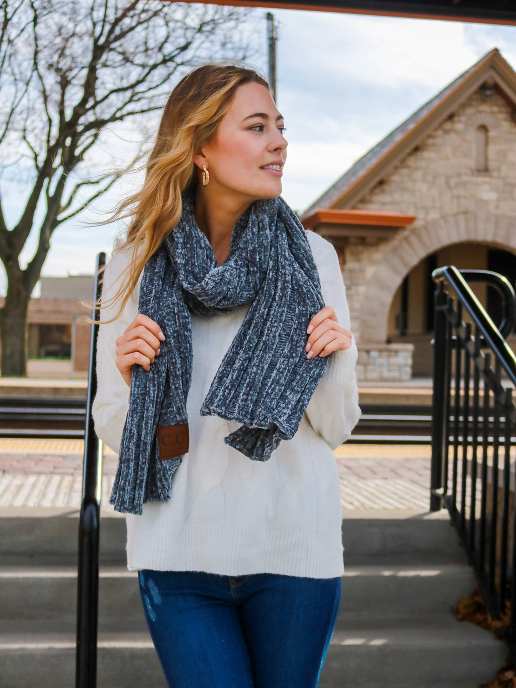 Fireside Memories Scarf- Light Grey - FINAL SALE
