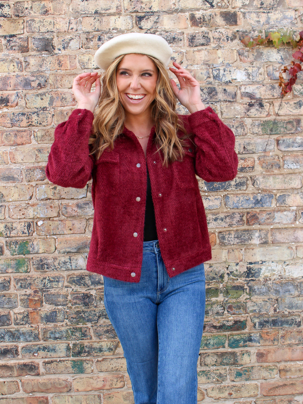 Keep Warm Fuzzy Jacket - Burgundy