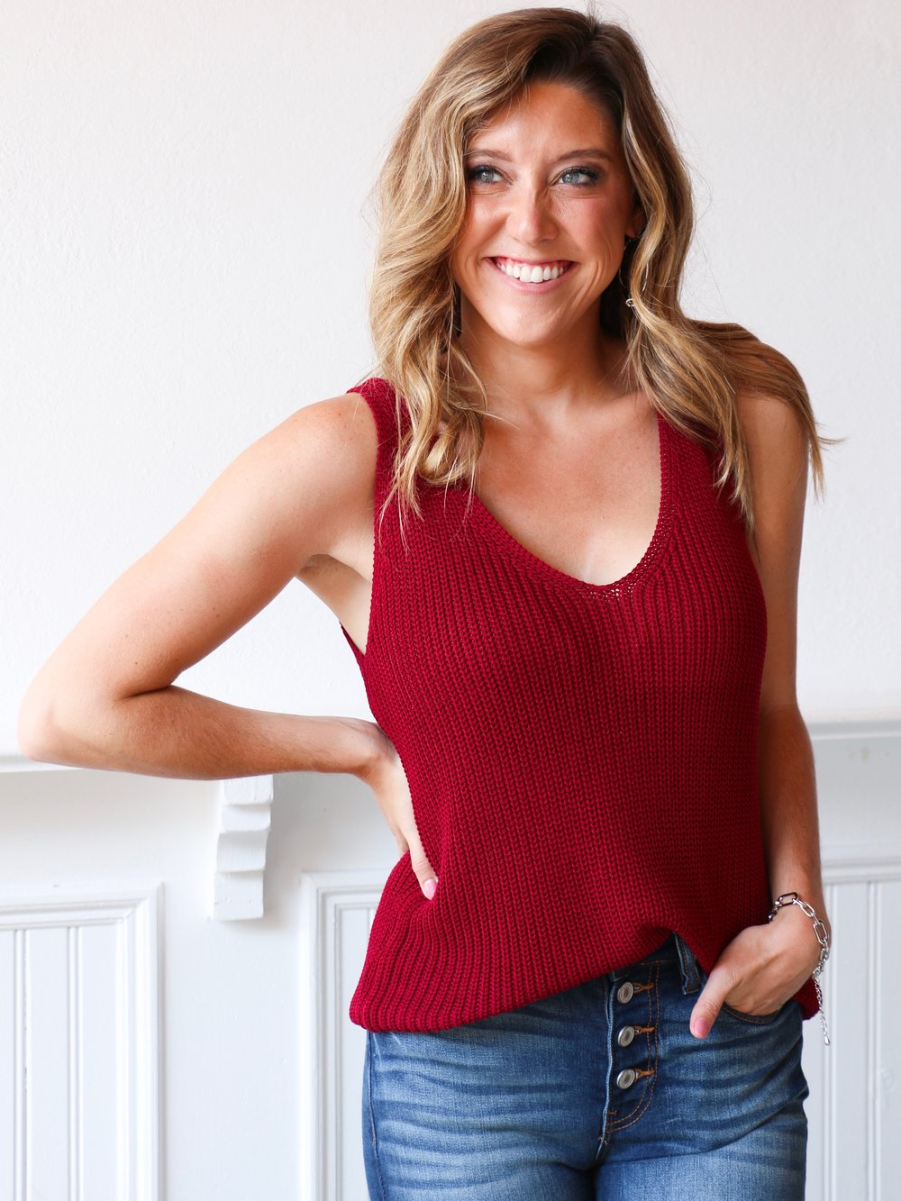 It's A Breeze Sweater Top - Burgundy