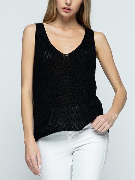 It's A Breeze Sweater Top - Black