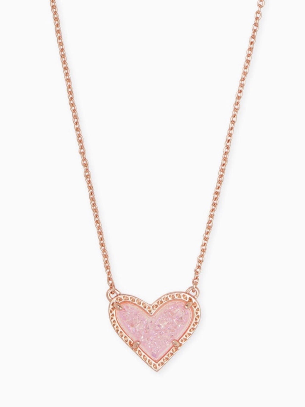 Kendra Scott Heart Necklace- Pink Drusy
