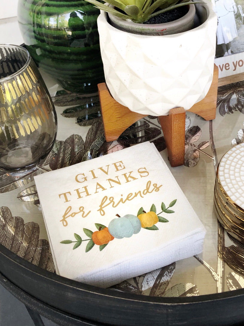 Give Thanks For Friends Cocktail Napkins