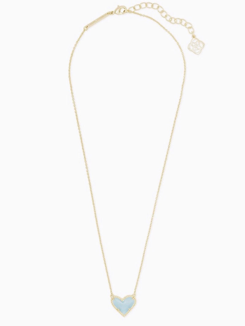 Kendra Scott Heart Necklace- Light Blue