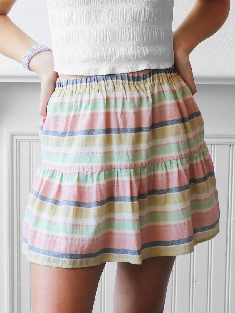 Pamela Tiered Striped Skirt