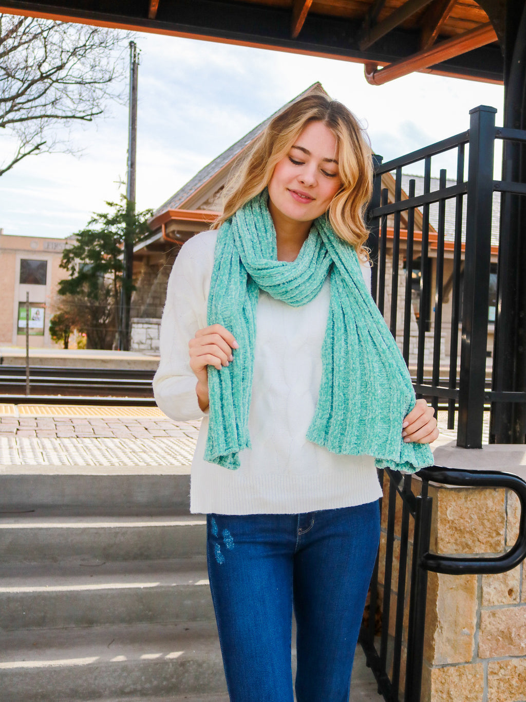 Fireside Memories Scarf- Mint - FINAL SALE