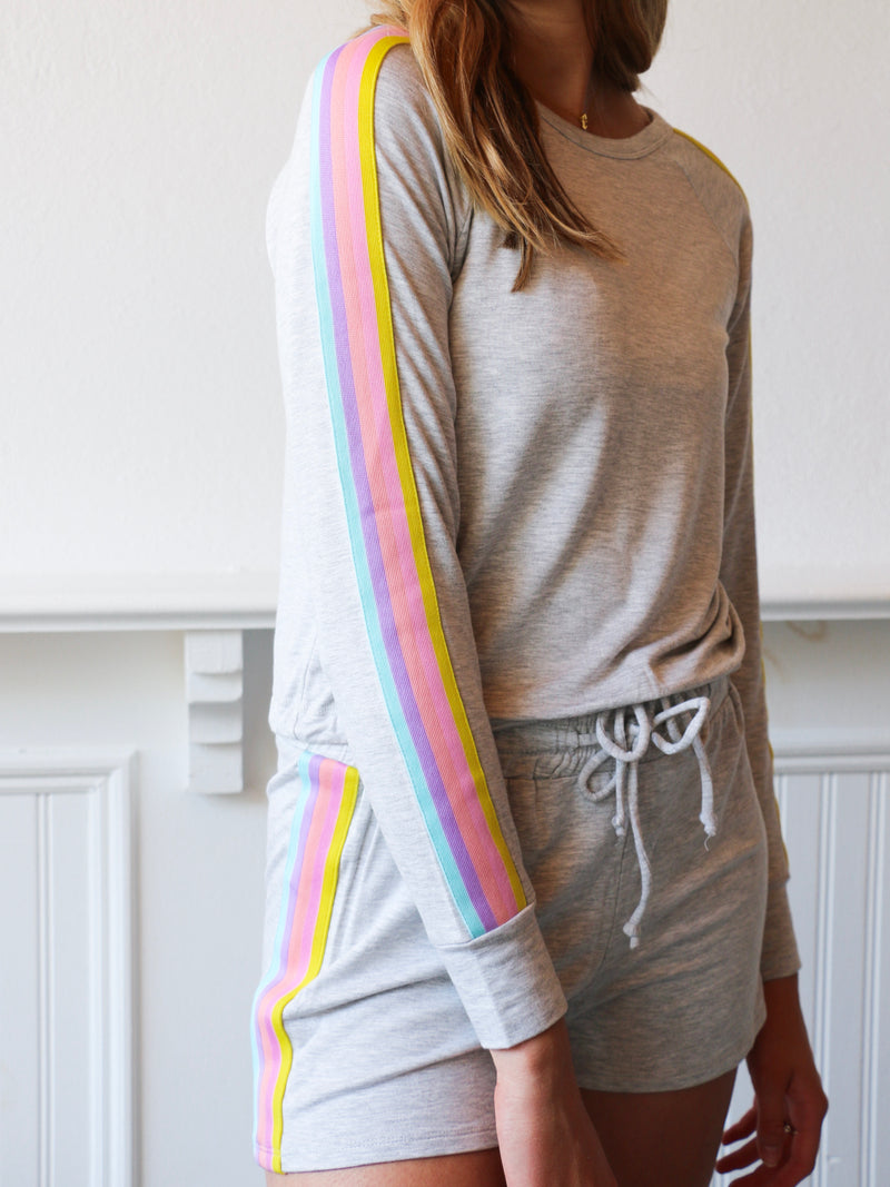 See the Rainbow Stripe Knit Pullover