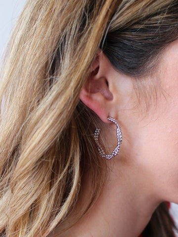 Teardrop Beaded Hoops