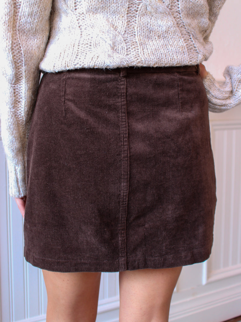 Fall Things Belted Corduroy Skirt