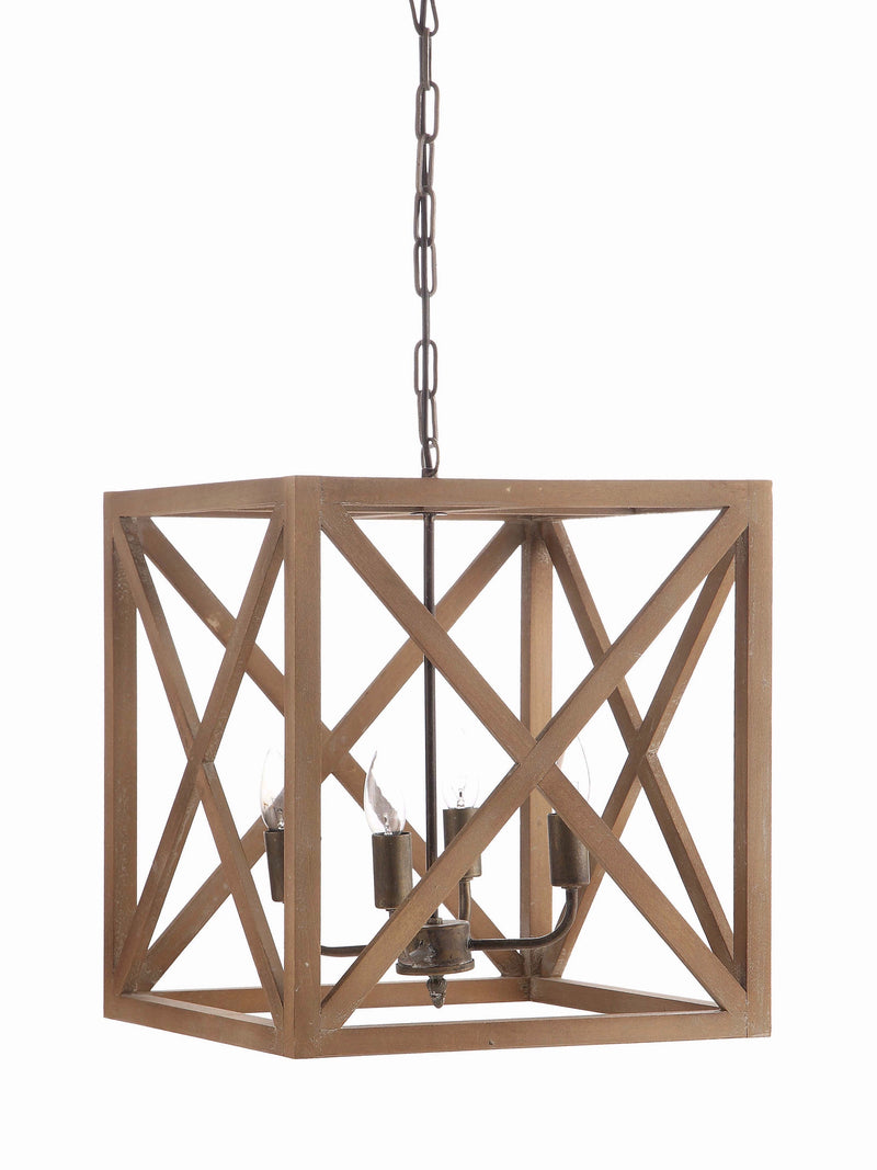 Square Wood and Metal Chandelier
