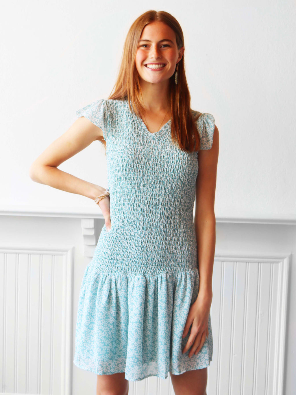 Swimming Smocked Dress - Seafoam