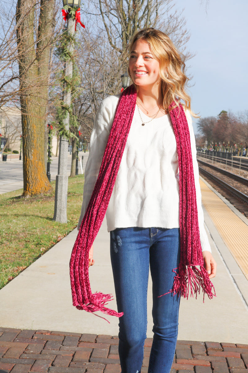 Warm And Cozy Scarf- Magenta