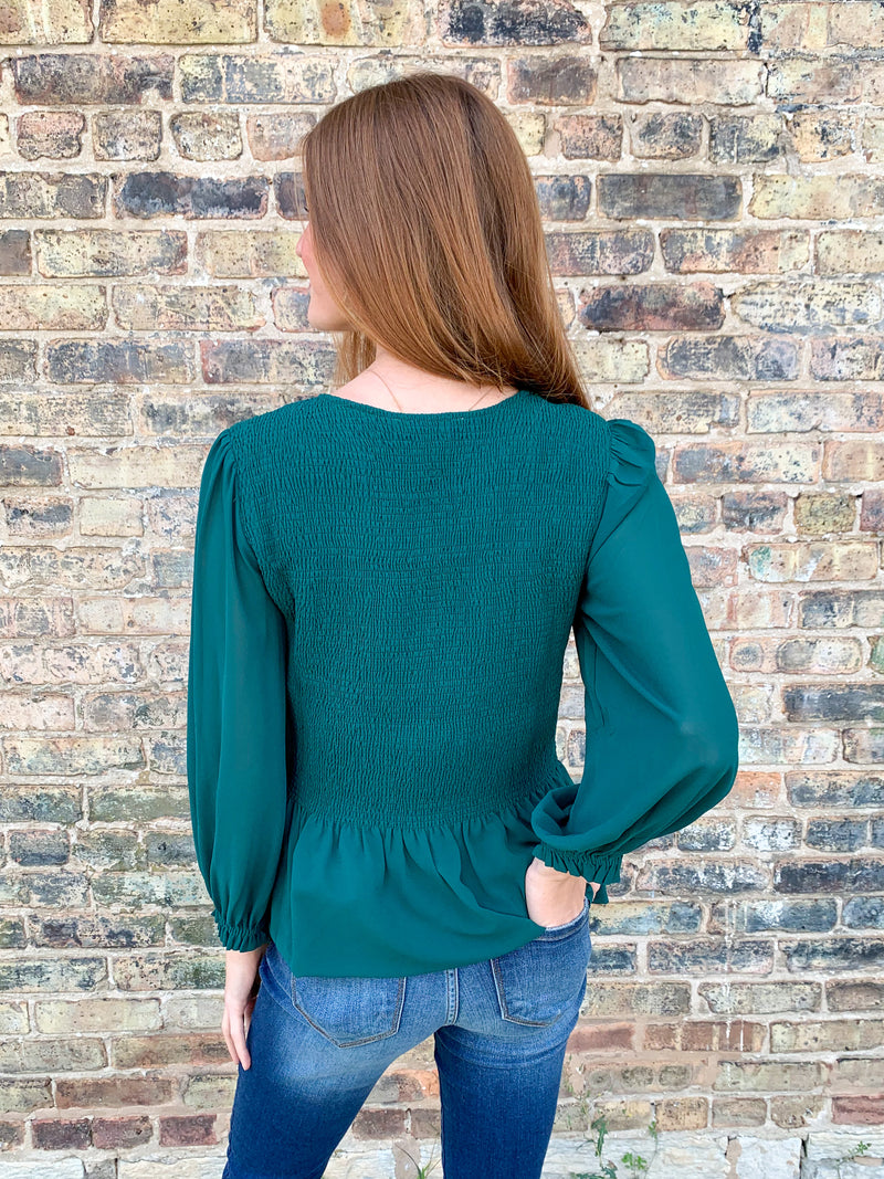 Make Up Your Mind Smocked Top - Green