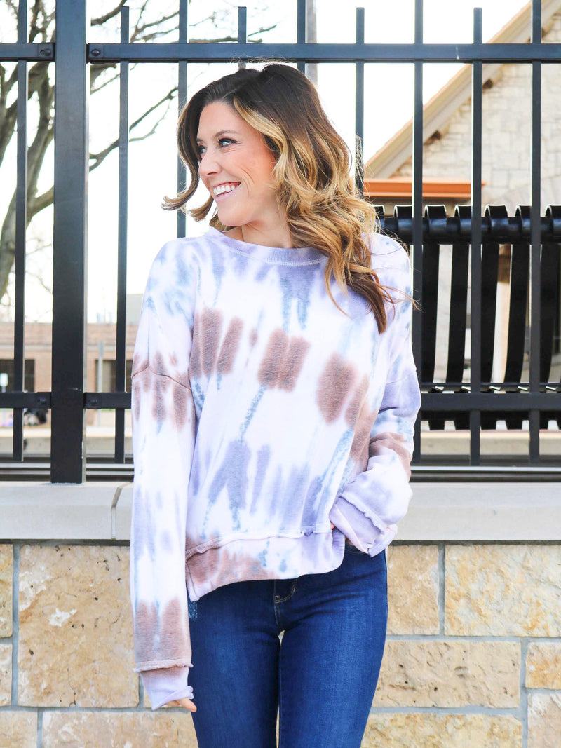 Split Side Tie Dye Pullover
