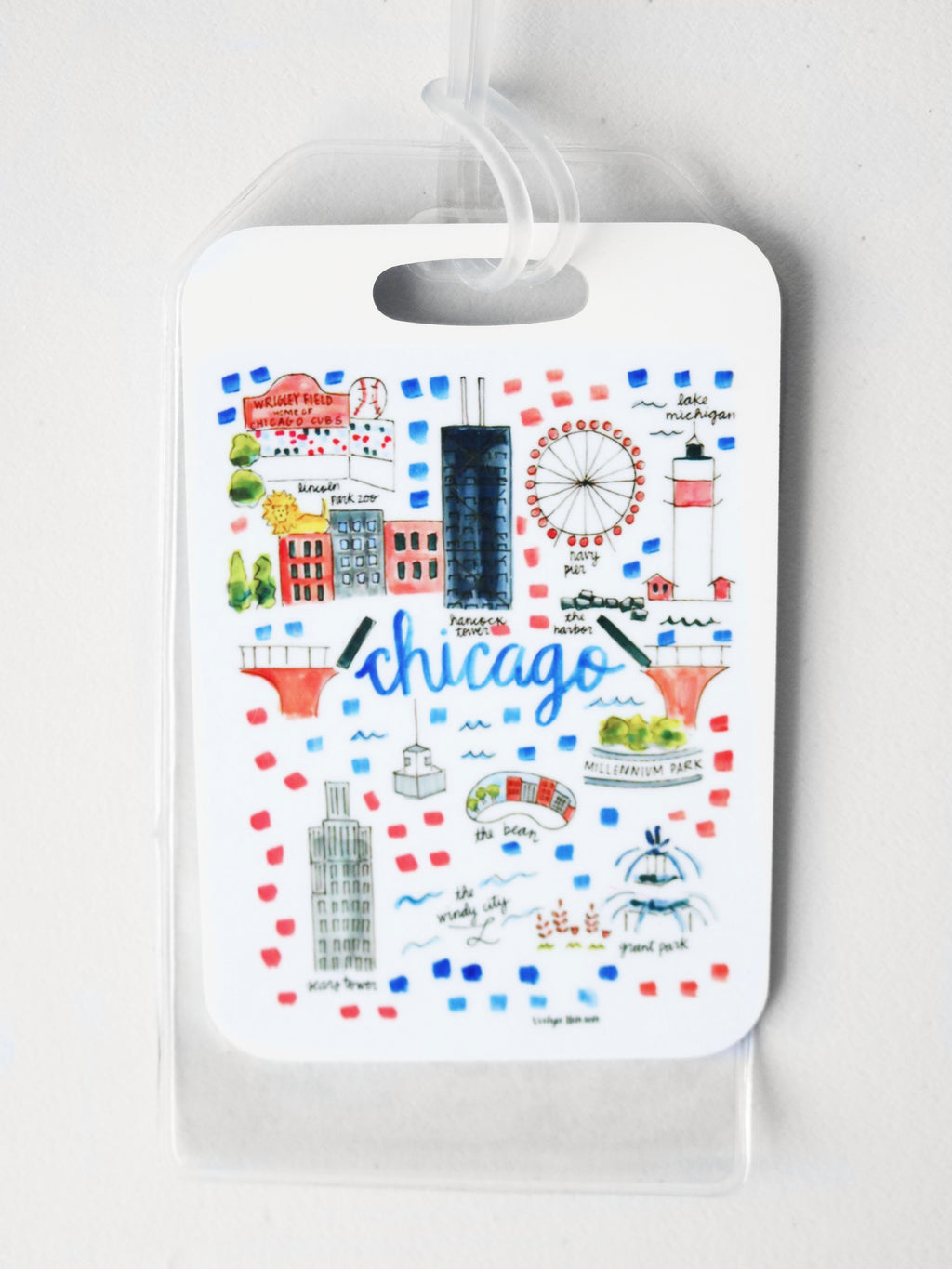 Illustrated Chicago Luggage Tag