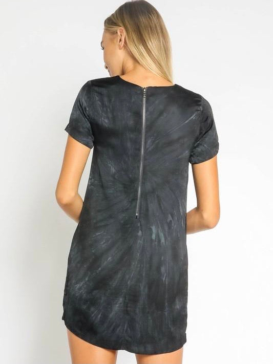 Tie Dye Silk T-Shirt Dress - Navy/Black