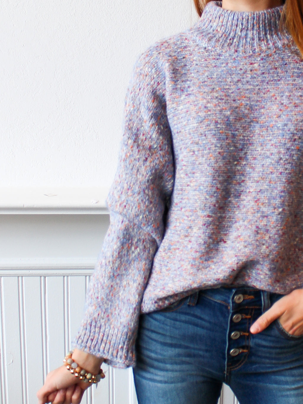 Speckled Mock Neck Sweater