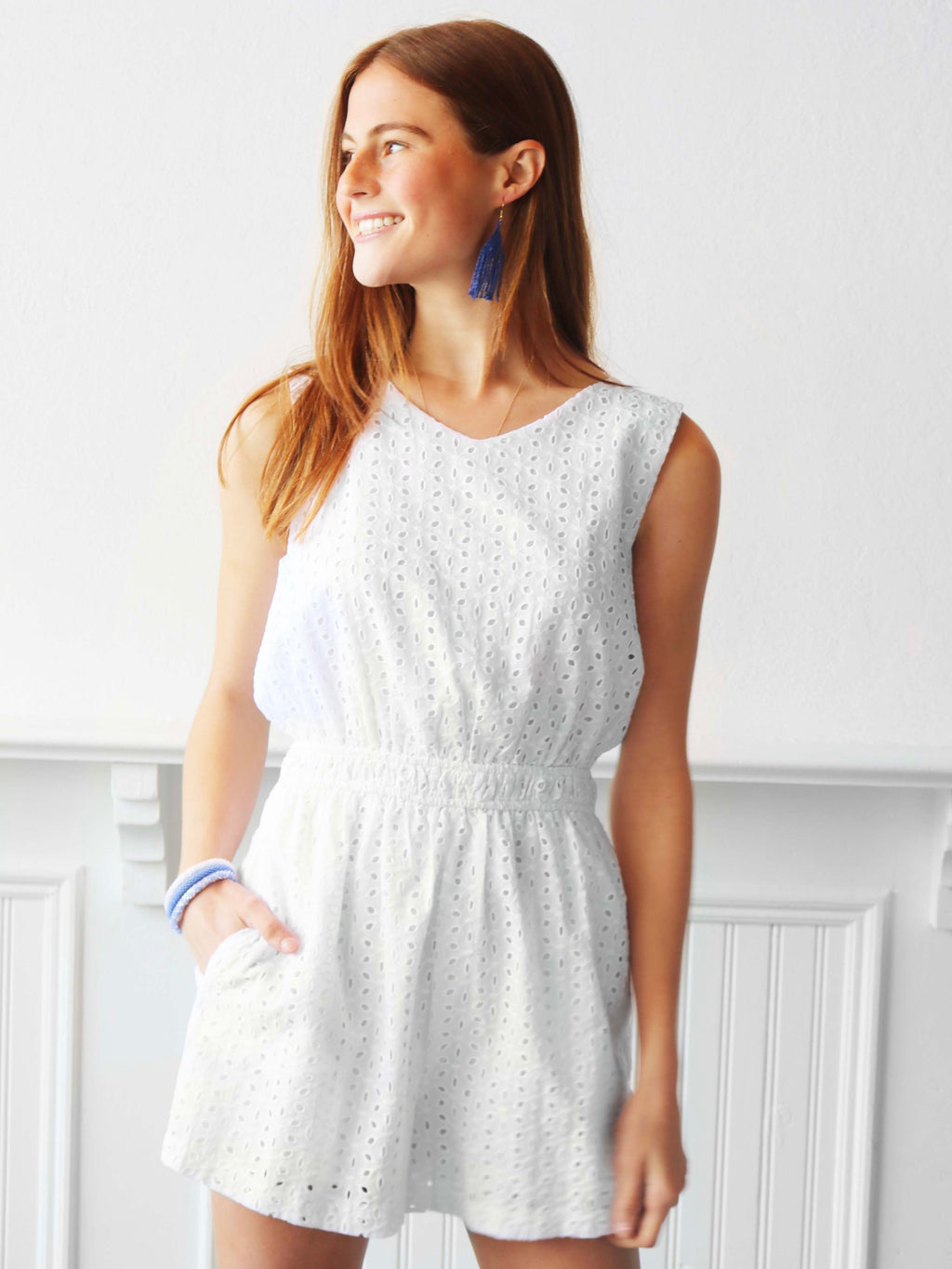 Eyes Up Eyelet Romper - Off White