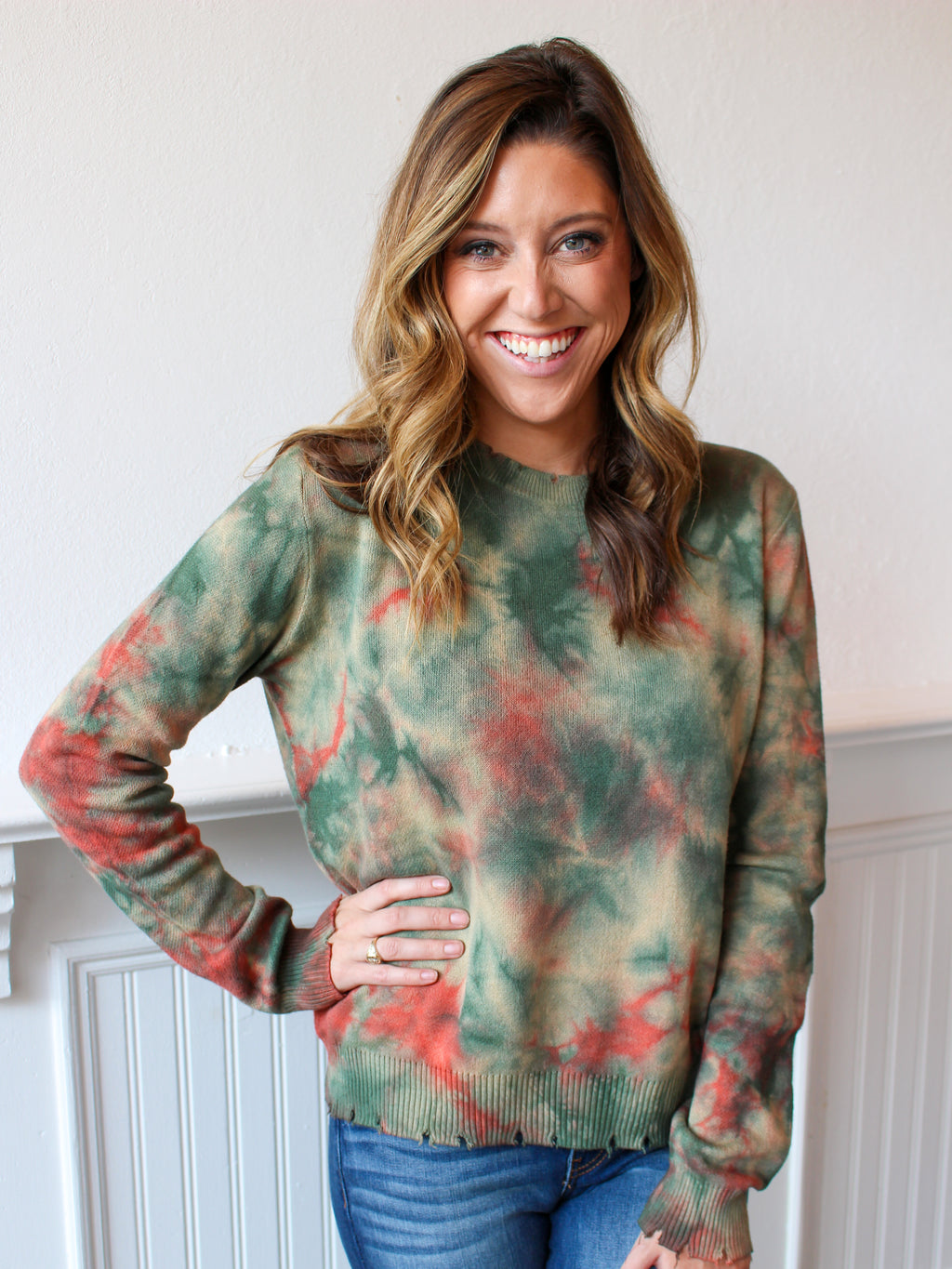 Olive You Distressed Tie Dye Sweater