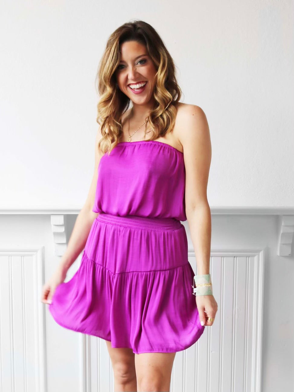 Sweet Summer Mini Dress - Fuchsia