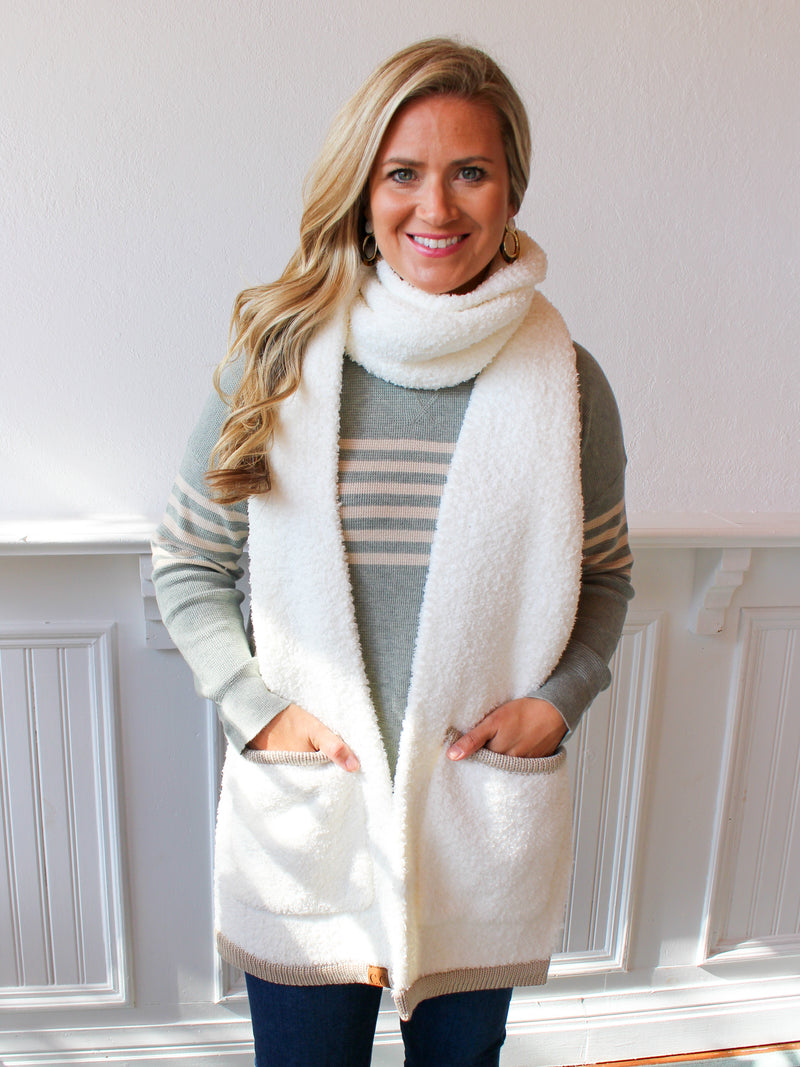 Seasons Changing Pocket Scarf - White / Tan