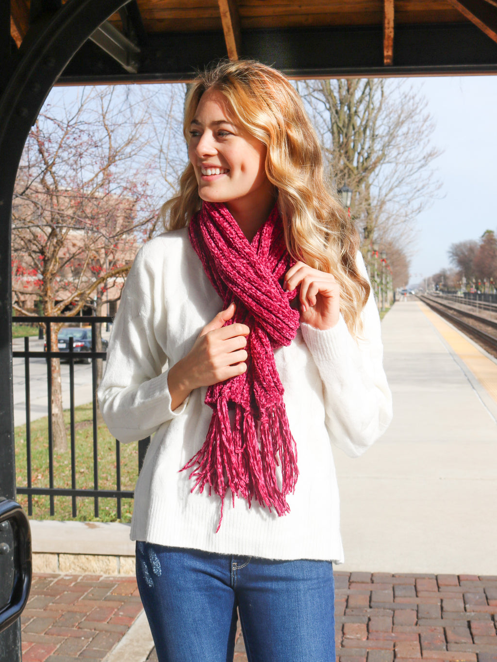 Warm And Cozy Scarf- Magenta - FINAL SALE