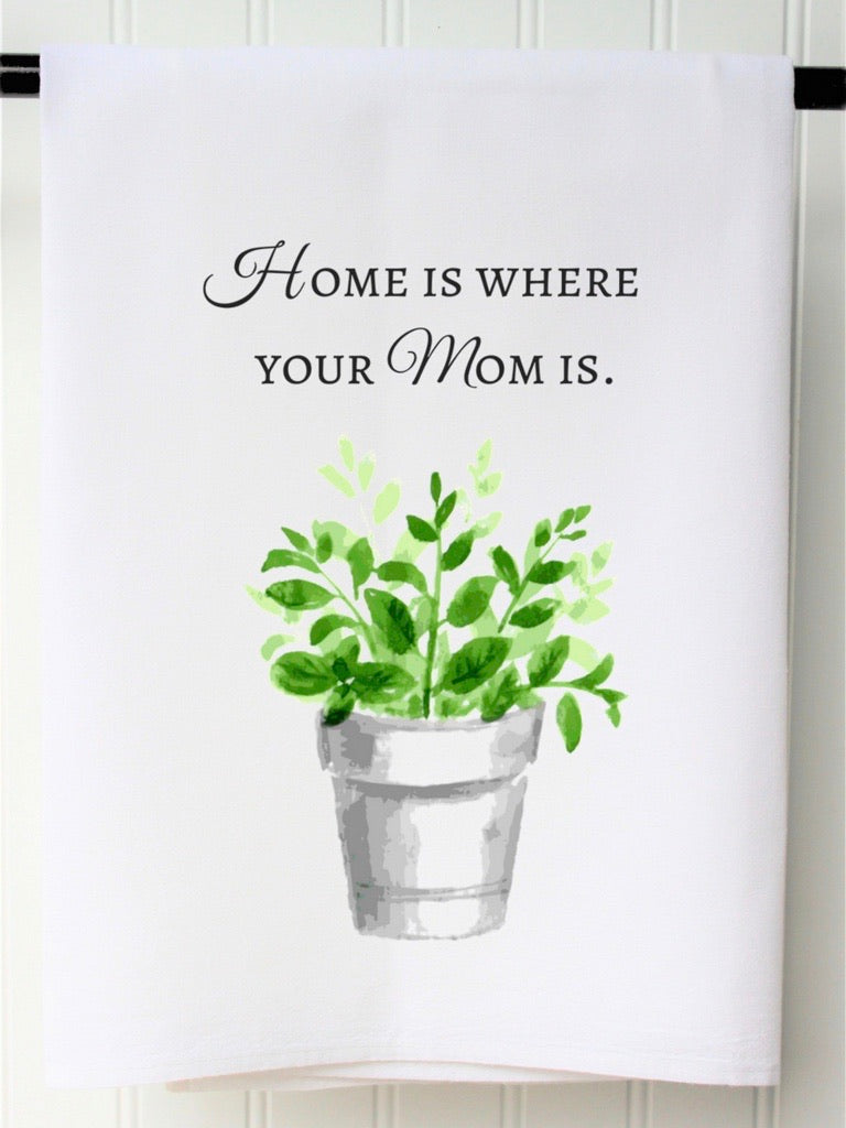 Succulent Home is Where Mom is Tea Towel
