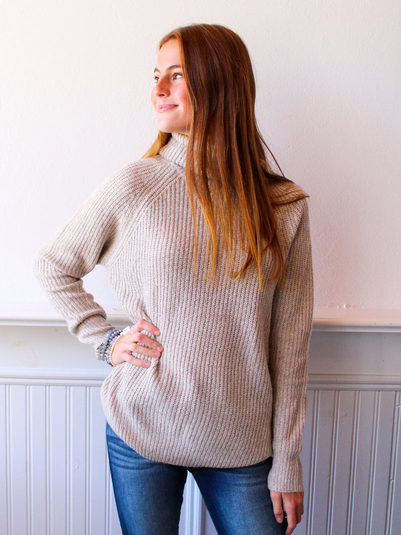 Raglan Ribbed Knit Turtleneck Sweater - Taupe