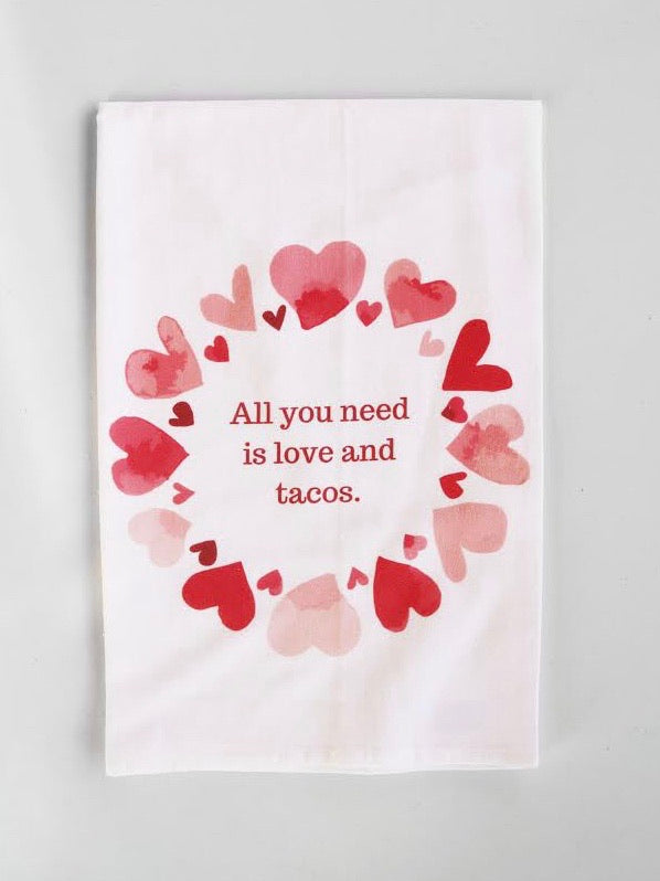 Love And Tacos Flour Sack Towel