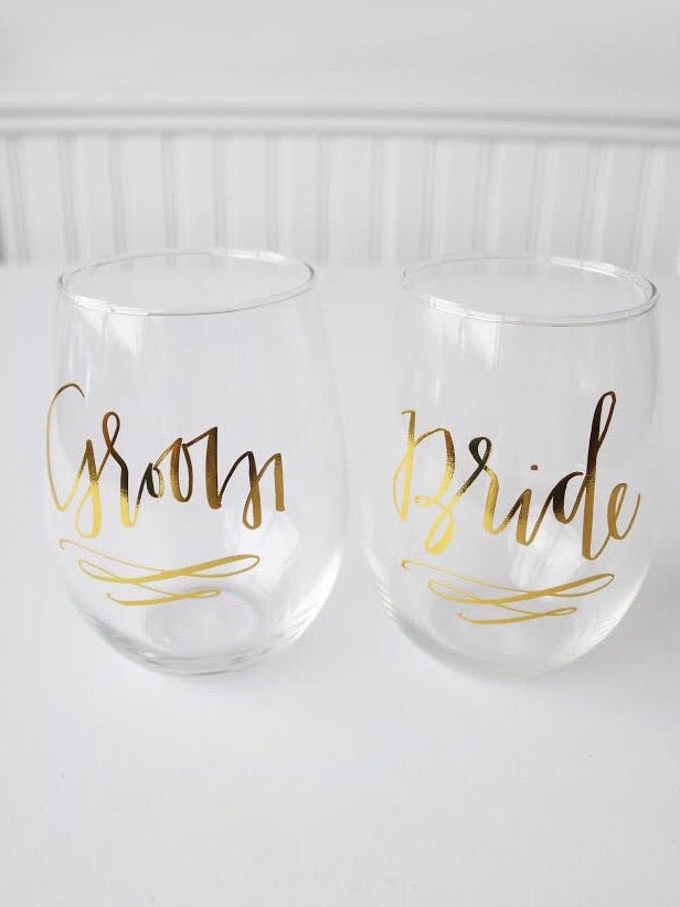 Bride & Groom Stemless Wine Set