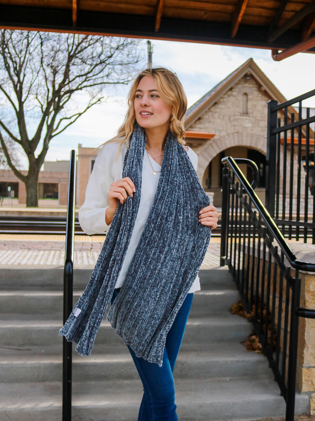 Fireside Memories Scarf- Dark Denim