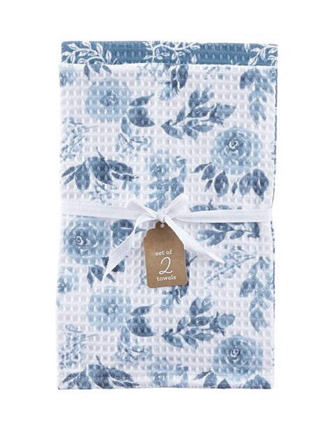 Set of 2 Blue Floral Dish Towels