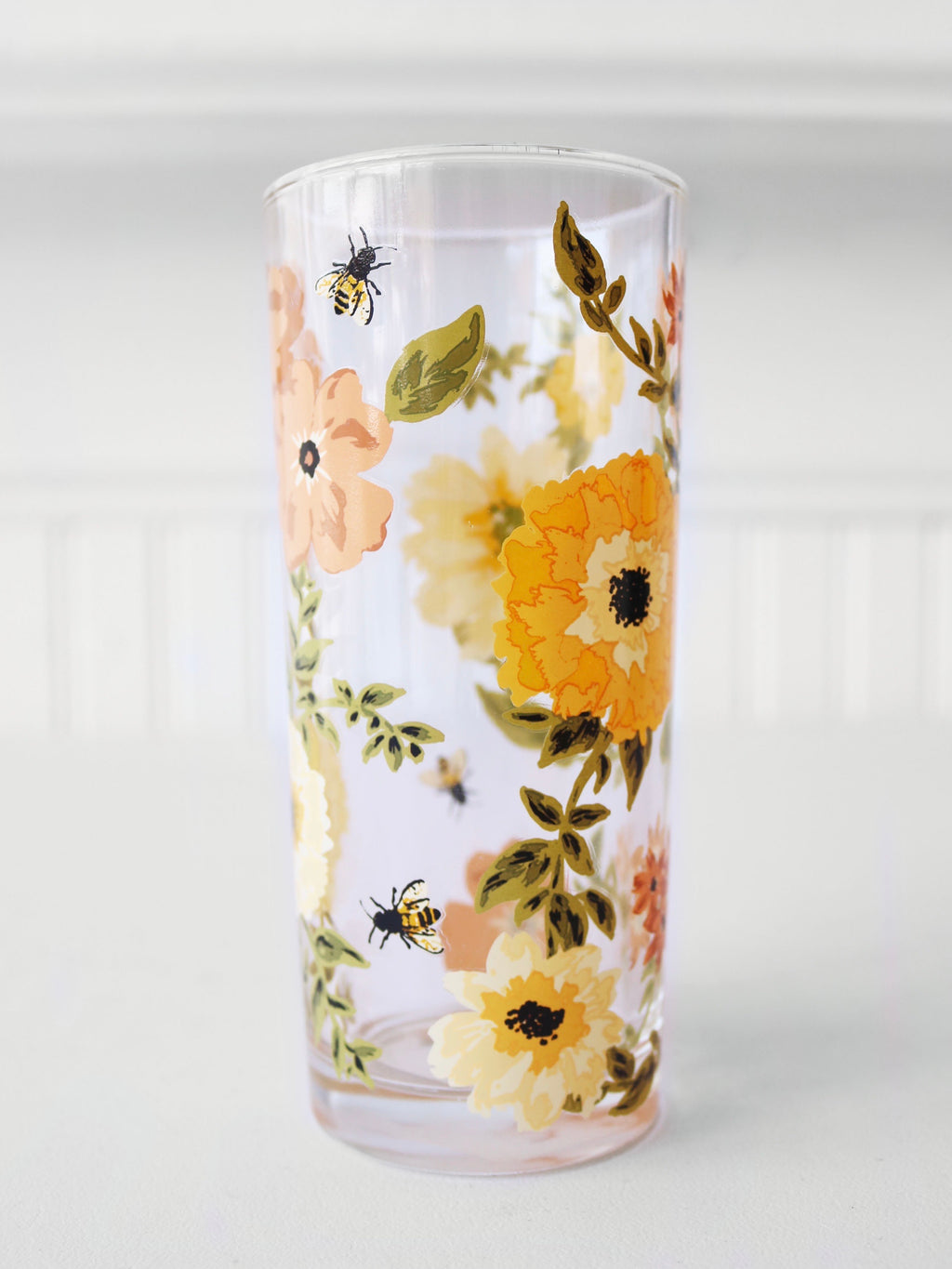 Bee Floral Drinking Glass
