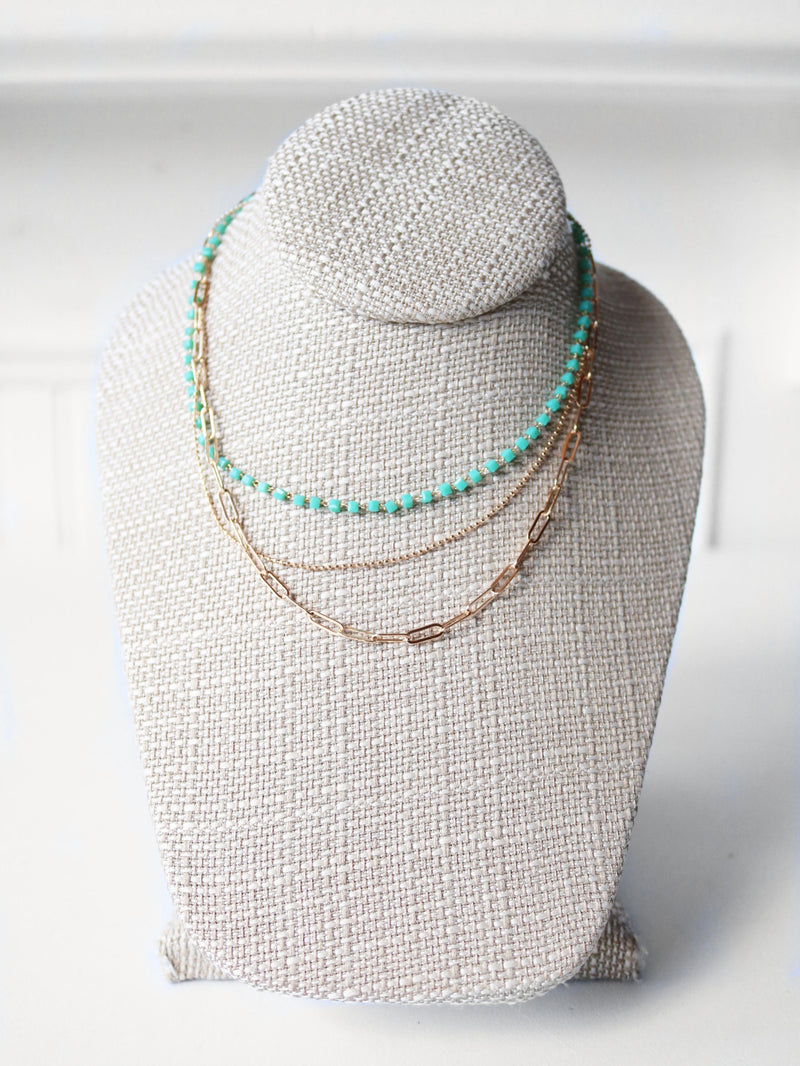 Paperclip Beads Triple Layer Necklace