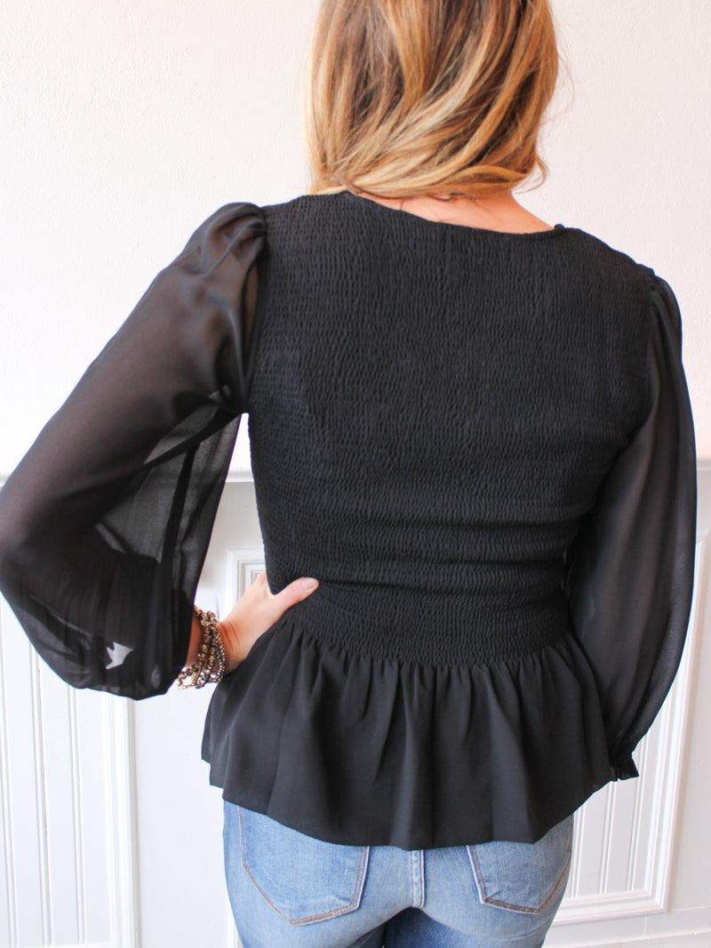 Make Up Your Mind Smocked Top - Black