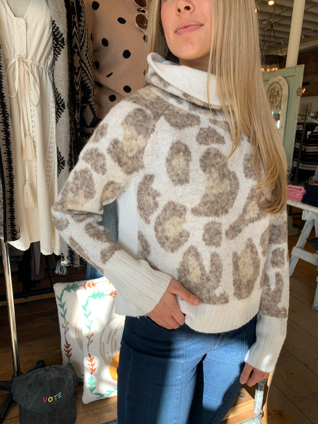 Winter Leopard Cowl Neck Sweater