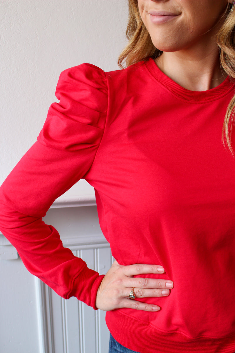 Give It A Rest Ruched Sleeve Top Red