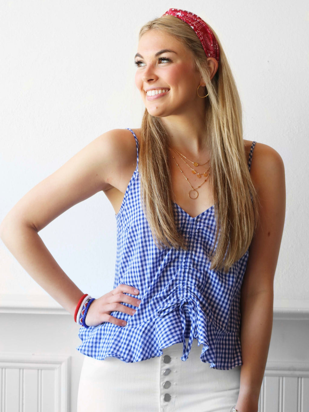 Sasha Top - Blue/White Gingham Pattern
