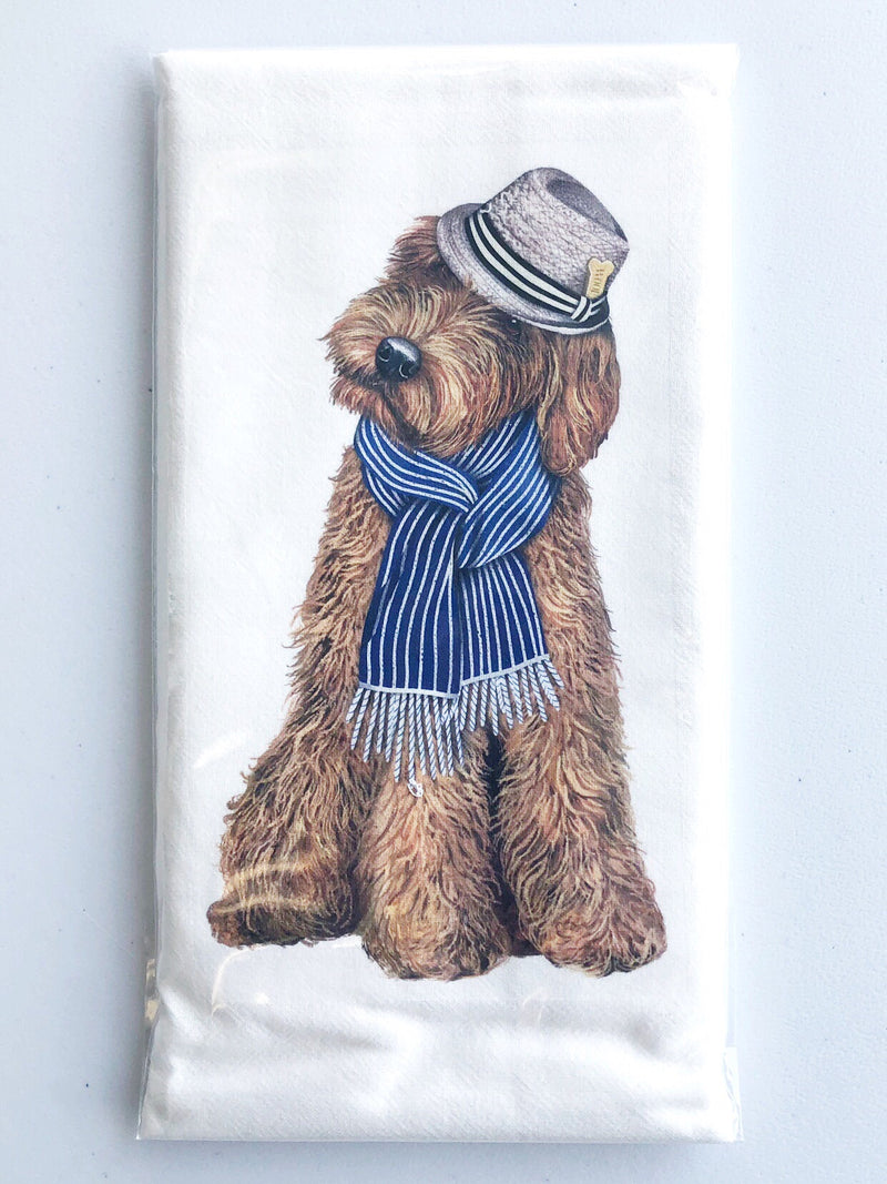 Dog with Fedora Flour Sack Towel