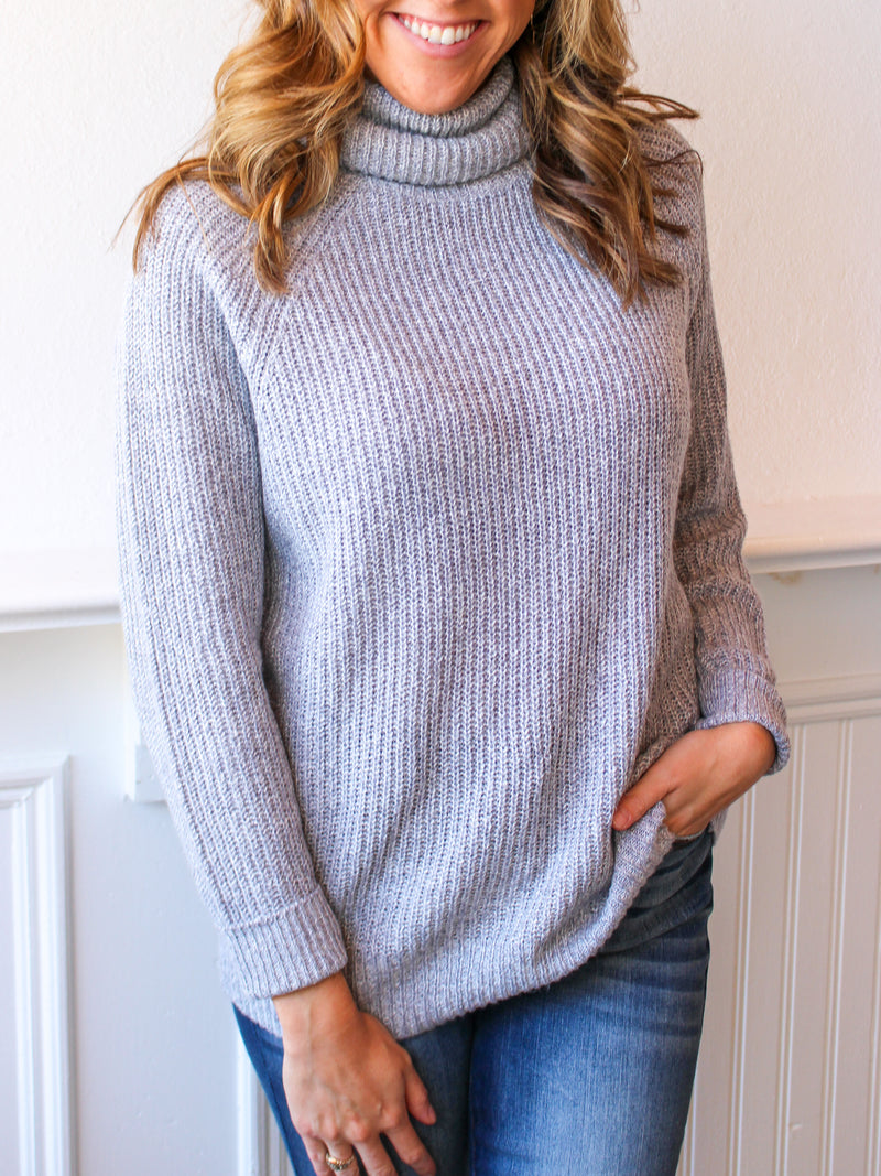 Raglan Rib Knit Turtleneck Sweater - Grey