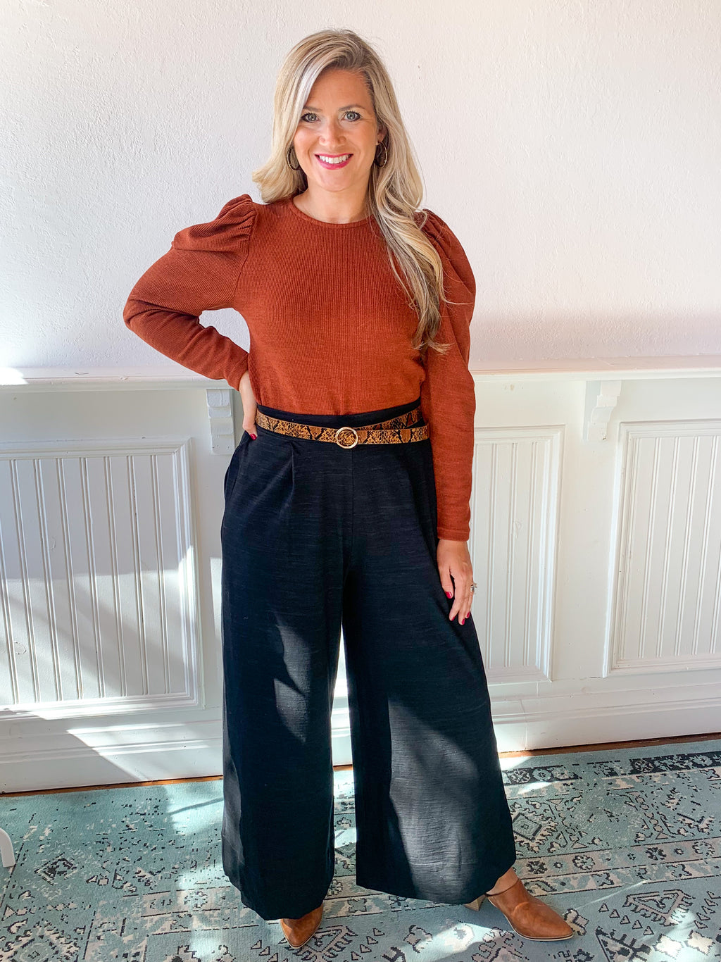 Take Me Back Puff Sleeve Top - Rust