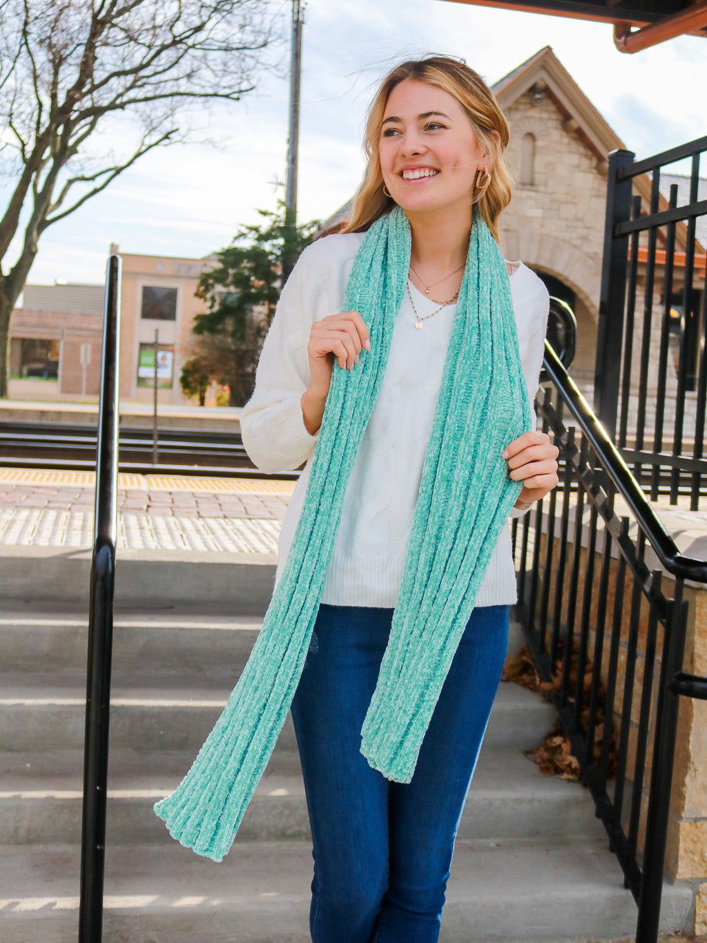 Fireside Memories Scarf- Mint