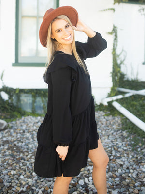 There She Goes Tiered Dress - Black