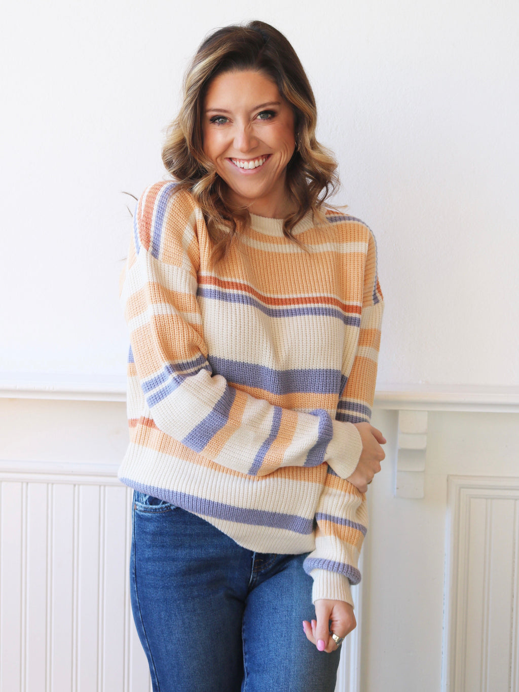Peachy Keen Striped Sweater