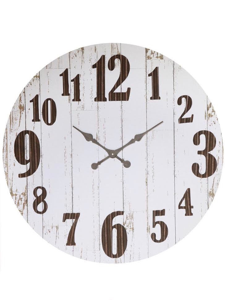 Black and White Wood and Metal Wall Clock