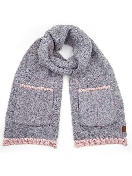 Seasons Changing Pocket Scarf- Light Pink / Gray - FINAL SALE